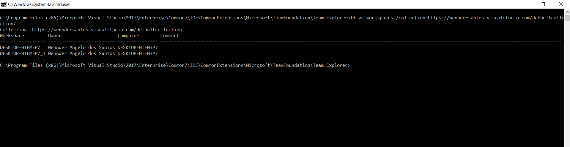 TFVC - Unmapping a workspace using tf exe